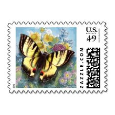 """Yellow Vintage """"Beautiful Butterfly"""" Postal Stamp"""