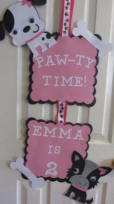 Puppy Party Door Sign. $18.00, via Etsy.