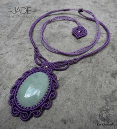 Jade - Macrame necklace w/ 925 Silver beads- stone size approx. 3.8/2.6