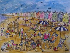 Print from watercolour, August on Bournemouth beach, 2015.   By London-based artist, Caroline Sayer See more at: www.carolinesayer.co.uk