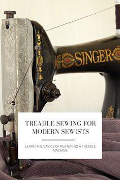 Sewing Machine Tutorial Seamwork Magazine: Treadle Sewing for Modern Sewists Treadle Sewing Machines, Antique Sewing Machines, Vintage Sewing Patterns, Sewing Machine Repair, Sewing Hacks, Sewing Tips, Sewing Ideas, Sewing Tutorials, Sewing Crafts