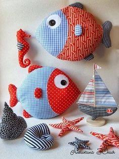 Рыбы-подушки (идеи и выкройка)