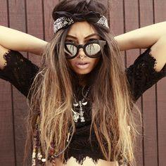 Rivet Kim Kardashian Sunglasses Women Luxury Brand Designer Retro Vintage Sun Glasses Female One Piece Black Flat Top Shades - My Dreams App Rock Chic, Bad Hair, Hair Day, Dreads, Black Sunglasses, Sunglasses Women, Sunglasses Outlet, Oakley Sunglasses, Feather Headpiece
