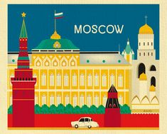 Moscow, Russia Poster - Wall Art Travel Themed Print for Home, Office, and Nursery - Illustrations, Hand Illustration, America Images, Travel Wall Art, Voyage Europe, Moscow Russia, Travel Themes, Vintage Travel Posters, Poster Wall
