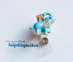So Cute Whimsy Light Blue Elephant - Nurse/Professionals/Conventions - Badge Holder Lanyard Clip BB1971    Make it into a Lanyard for just a