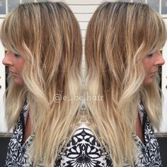 Beautiful stretched root and blonde balayage