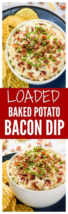 Eat Stop Eat - No one will be able to stop eating this Loaded Baked Potato Dip with Bacon Sour Cream and All the Fixins - In Just One Day This Simple Strategy Frees You From Complicated Diet Rules - And Eliminates Rebound Weight Gain Game Day Appetizers, Appetizer Dips, Appetizer Recipes, Appetizer Party, Yummy Appetizers, Yummy Snacks, Dinner Recipes, Yummy Food, Baked Potato Dip