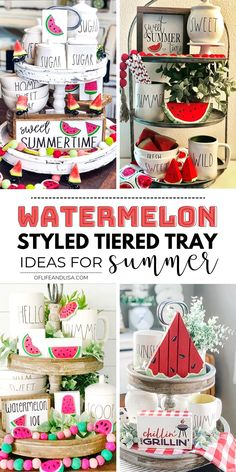 9 Stunning Watermelon Tiered Tray Ideas for Summer Watermelon decor is making a wave this summer. Check out these lovely watermelon themed tiered tray ideas you'll love! Pallet Ideas, Watermelon Decor, Watermelon Ideas, Seasonal Decor, Holiday Decor, Tray Styling, Tiered Stand, Spring Home Decor, Summer House Decor