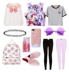 """""""Untitled #148"""" by ghouliette ❤ liked on Polyvore featuring 7 For All Mankind, cutekawaii, New Look, Retrò, Dorothy Perkins and Bonne Bell"""