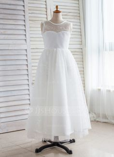 3e41bda9b81  £ A-Line Princess Floor-length Flower Girl Dress - Tulle Lace Sleeveless  Scoop Neck With V Back - JJ s House