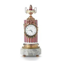 A RARE FABERGÉ VARI-COLOR GOLD AND ENAMEL COLUMN-FORM TIMEPIECE, WORKMASTER HENRIK WIGSTRÖM, ST PETERSBURG, CIRCA 1900