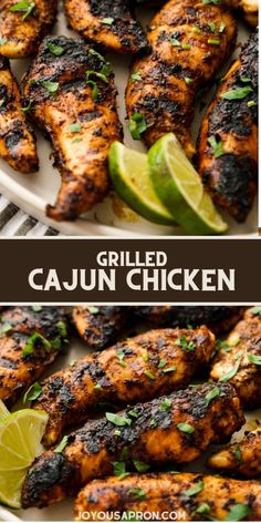 Grilled Cajun Chicken - easy grilling recipe for the summer! Chicken tenderloins covered in bold Creole flavored seasoning and grilled until it is slightly blackened. Delicious and makes an incredible main dish and meal prep. Thanksgiving Main Dishes, Slow Cooker Meal Prep, Healthy Meal Prep, Healthy Recipes, Cajun Chicken Recipes, How To Cook Chicken, Grilling Recipes, Food Dishes, Summer Chicken