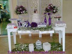 Mesa clean - estilo provençal Arranjos de flores naturais acessórios de decoração Bandejas e suportes de doces Doce Surpresa Decoração e Eventos