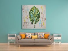 Original Leaf Decor Oil Painting / Green and White Handmade Wall Art / Natural…