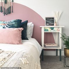 The couple have also redecorated their guest room, with Laura adding a stylish semi-circle. Bedroom Wall Designs, Room Ideas Bedroom, Bedroom Decor, Painted Headboard, 1970s House, Pastel Room, Old Room, Living Room On A Budget, Decorating Rooms