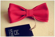 Red Men's Bow Tie FREE SHIPPING Handmade Wool by MonejBowTies