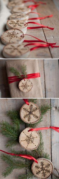 Tree ornaments made of trees.