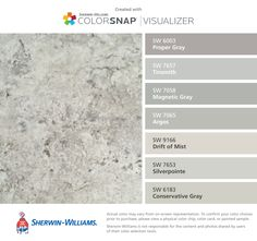 I found these colors with ColorSnap® Visualizer for iPhone by Sherwin-Williams: Proper Gray (SW 6003), Tinsmith (SW 7657), Magnetic Gray (SW 7058), Argos (SW 7065), Drift of Mist (SW 9166), Silverpointe (SW 7653), Conservative Gray (SW 6183).