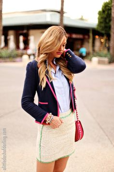 Caitlin from A Little Dash of Darling styled our Malibu Blazer in True Navy