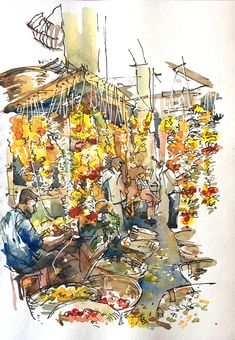 Urban Sketchers: Sketching in Goa: Part 2: The Markets, by Suhita
