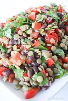 Healthy black bean lentil salad with cumin-lime dressing! Perfect for lunches, potlucks, picnics, etc.! (vegan and gluten-free)
