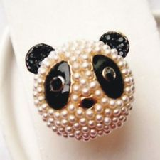 Fashion imitation pearl Enamel Panda Bear Ring RA032