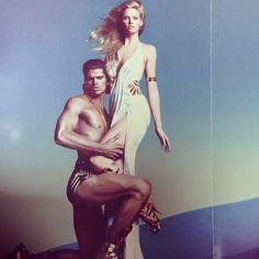 #PaolaIezzi Paola Iezzi: #oggicosi #olimpo #versace #campaign #eros #gods #olimpus #gold #white #blu #hedonism #perfection @lara_stone