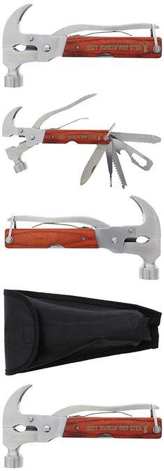 Deer Hunting Gift for Dad Best Buckin Dad Ever Laser Engraved 12-in-1 Hammer Multitool Camping Survival Hammer Multi Tool