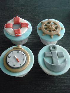 Nautical Cupcakes by Sliceofcake on DeviantArt - crinedcruise. Sea Cupcakes, Cute Cupcakes, Cupcake Cookies, Cupcakes Design, Cupcake Toppers, Sugar Cookies, Nautical Theme Cupcakes, Themed Cupcakes, Nautical Favors