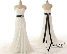 Long Chiffon A Line Skirt Sweetheart Off Shoulder by VnaixBridal