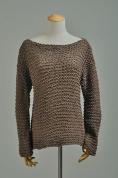 Simple is the best - Hand knitted woman sweater Eco sweater oversized in Brown. $85.00, via Etsy.