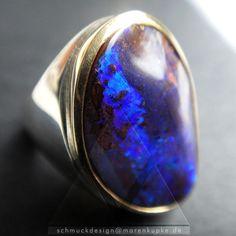 Ringe - Boulder Opal tintenblau 900 Gold Ring 925 Silber - ein Designerstück von Schmuckdesign-MarenKupke bei DaWanda