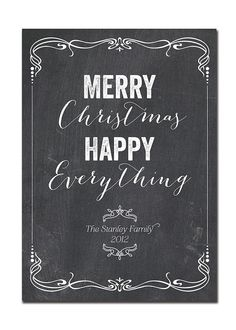 Chalkboard Christmas Card Cafe Style Non-Photo Elegant Black & White Holiday Card Greeting Card DIY Digital or Printed - Stanley style