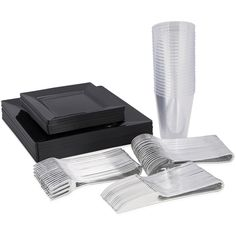Black Square plastic disposable wedding Value Party Pack 120 settings - This set is one you can't go wrong with. Elegant yet simple to wow guests at any event. Included in this pack is our square black disposable plastic plate dinnerware value set, the modern silver shiny cutlery and 12 oz plastic crystal party cups. This set comes in a count of 120 place settings.Perfect for weddings, dinner parties, retirement parties and more. Disposable Plastic Plates, Plastic Cups, Clear Tumblers, Value Set, Silver Cutlery, Retirement Parties, Party Cups, Black Square, Saving Ideas