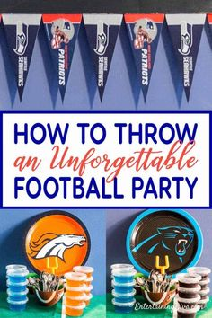 Throw a football party that your friends and family are going to LOVE with these easy decorating tips and recipe ideas. Perfect for the college football playoffs or a super bowl party. Football Party Decorations, Football Party Foods, Birthday Party Decorations, Party Themes, Party Ideas, Football Food, Football Humor, Football Names, Football Shirts