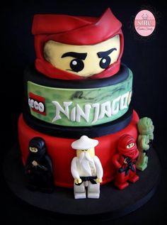Lego ninjago cake - Cake by Cristina Lego Ninjago Cake, Ninjago Party, Lego Birthday Party, Superhero Cake, 5th Birthday, Lego Torte, Bolo Lego, Blackberry Cake, Pear Cake