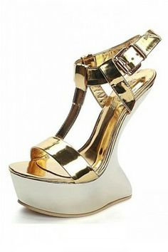 c219177a21af You gotta love these gold shoes.. Gold Wedge Shoes