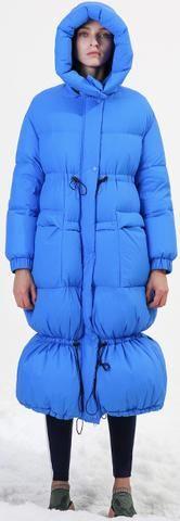Blue Paneled Puffer Coat