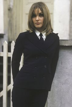 A suited and booted Sharon Tate, London 1966.