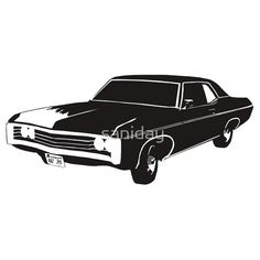 'Chevy Impala' T-Shirt by saniday Tapas, Supernatural 1, Car Drawings, Chevy Impala, Glossier Stickers, Chevrolet Logo, Laptop Sleeves, Iphone Cases, T Shirt