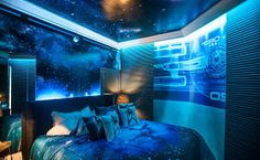Bedroom in the Star Trek-themed suite at the Sheraton Hotel in Sao Paulo Brazil. Available for a limited time, $ 670 -- $ 715 a night. Those starry walls include some seven thousand crystals, and an array of LED lights which can be commanded to do a variety of effects via remote control in the room.