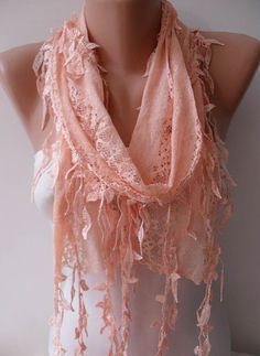 Light Salmon Laced Scarf with Salmon Trim Edge  - Speacial Laced Fabric...$18.90