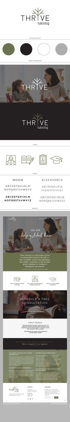 Tutoring, Brand Board, Branding, Logo, Design, Tree, line logo, minimal, clean, modern, moon, alexandria, font, loveleaf, gray, education, learning, teacher, wordpress website, web layout, website design,