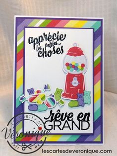 Double carte artisanale 3D Stampin'Up© «Rêve en Grand!» (Quel délice-148568) /3D handmade Stampin'Up© double card «Dream Big» (How sweet it is)