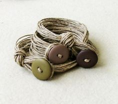 Sand color Linen Wrap Stacked Bracelet Button by totalhandmadeD