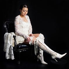 Over the Knee Lace Wedding Boots by kimchristofi on Etsy, $280.00