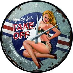 Ceas perete Nose-Art Ready for Take Off Nostalgic Art, Silver Wings, Nose Art