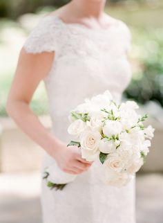 Classic bridal bouquet - all white wedding bouquet - Ashley Upchurch Photography All White Wedding, White Wedding Bouquets, Wedding Flowers, Wedding Dresses, Oklahoma Wedding, Rustic Weddings, Barns, Wedding Events, Bridal