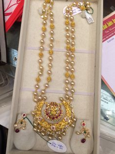 68 Gms long necklace Antic Jewellery, Beaded Jewellery, India Jewelry, Pearl Necklaces, Pearl Jewelry, Pendant Jewelry, Gold Necklace, Gold Ring Designs, Gold Earrings Designs