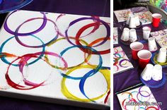 canvas and blindfolded masterpiece. Very cute ideas!!! Love the blindfolded art and rainbow photo booth!
